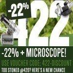 422 Promo: 22% Korting + Gratis LED Microscoop 60x!